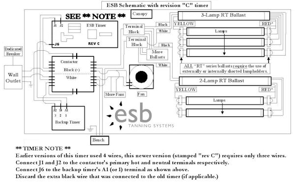 new esb tanning beds on sale, replacement lamps, bulbs and repair, Wiring diagram